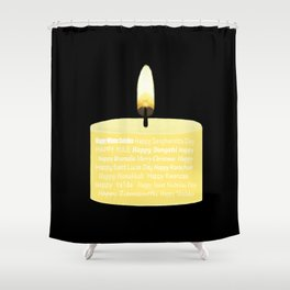 Happy Holidays Candle Shower Curtain