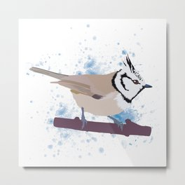 Crested Tit Metal Print