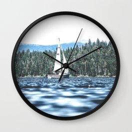 Calm Lake Sailboat Wall Clock