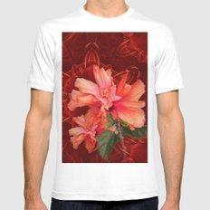 Orange hibiscus and vibrant kaleidoscope MEDIUM Mens Fitted Tee White