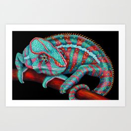 Panther Chameleon Turquoise Blue & Coral Red Art Print