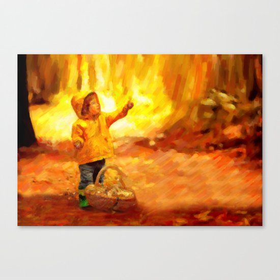 The Little Collector - Painting Style Canvas Print