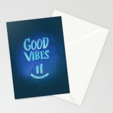 Good Vibes - Funny Smiley Statement / Happy Face (Blue Stars Edit) Stationery Cards