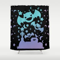 pastel goth Shower Curtains featuring Creepy Cute Fairy Kei Pastel Goth Bats, Stars, and Crescent Moons by KawaiiMachine