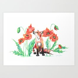 Paws & Smell the Poppies Art Print