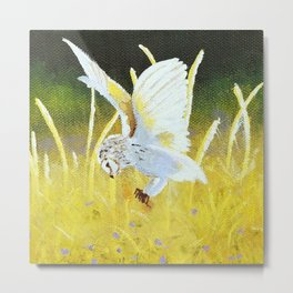 Snowy owl diving for prey amongst the tall grass Metal Print