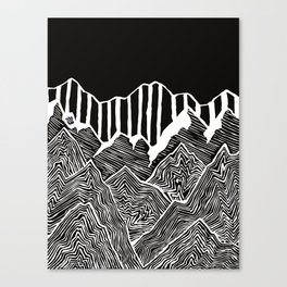 Geode Mountains Black and White Canvas Print