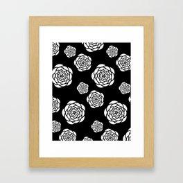 Black and white mod flower pattern Framed Art Print
