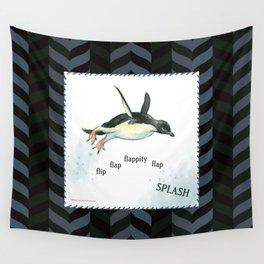 Penguin Makes a Splash Wall Tapestry