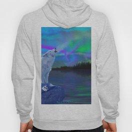 Arctic Prayer - White Wolf and Aurora Hoody