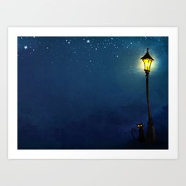The Light Post and the Cat Art Print