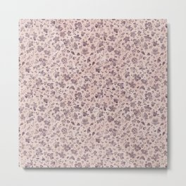 Ditsy Lilac Field of Petals on Pink,  Tiny Floral Pattern Metal Print