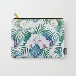 Tropical leaves and orchid flowers design Carry-All Pouch