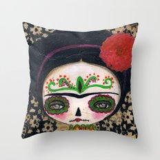 Frida The Catrina And The Devil - Dia De Los Muertos Mixed Media Art Throw Pillow