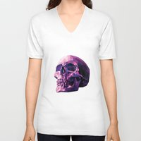 skull V-neck T-shirts featuring Skull by Roland Banrevi