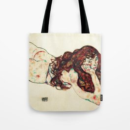 Egon Schiele - lying on his stomach nude (new color edit) Tote Bag