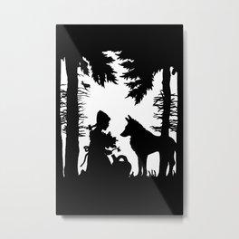 Black Silhouette Red Riding Hood Wolf in Woods Trees Metal Print