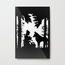 Black Silhouette Red Riding Hood Wolf in Woods Trees Metal Print