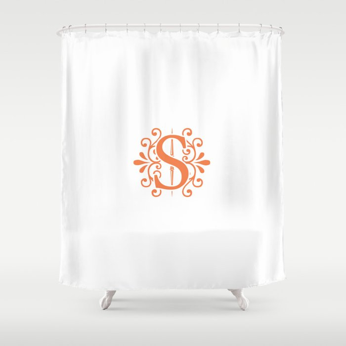 Monogram Letter H In Orange Shower Curtain