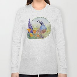 California Quail with Poppies and Lupine Long Sleeve T-shirt