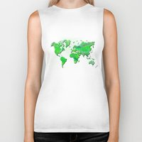 world map Biker Tanks featuring World Map by Roger Wedegis