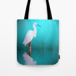 Egret in teal Tote Bag