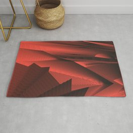Strange gentle landscap with stylised mountains, sea and red Sun. Rug