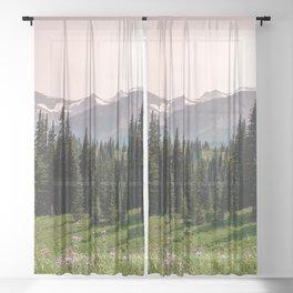 Mount Rainier Summer Adventure X - Pacific Northwest Mountain Landscape Sheer Curtain