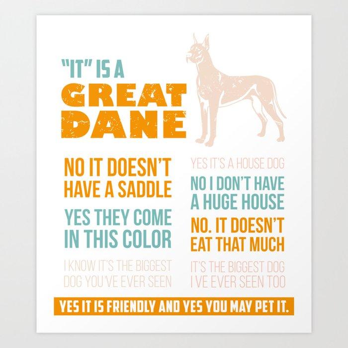 Great Dane Dog Puppy Gift for Dog Lovers & Owners Kunstdrucke