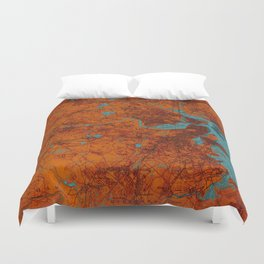 Boston 1893 old map, blue and orange artwork, cartography Duvet Cover