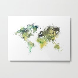 world map 88 art green Metal Print