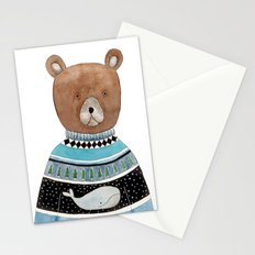 Bear in knitted sweater Stationery Cards
