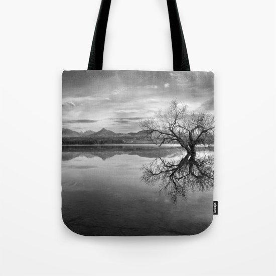 """""""Magic tree"""" BW. Sunset at the lake Tote Bag"""