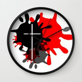 Cross Splash (Red) Wall Clock