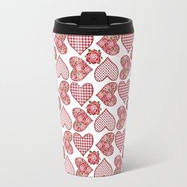 Hearts and Roses, Red Check Gingham and Polka Dots Travel Mug