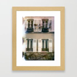 Window gardens and bicycles Framed Art Print