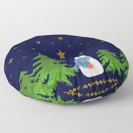 Sparkly gold stars, snowman and green tree Floor Pillow