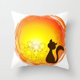 cat at dawn Throw Pillow