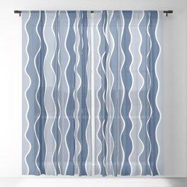 Blue Mid Century Modern Abstract Wave Pattern // Medium Vertical Wavy Lines Sheer Curtain