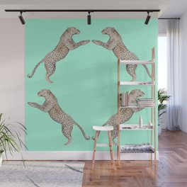 Leaping Leopard - Watercolor Wall Mural