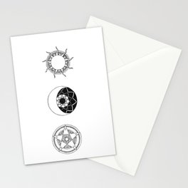 Sun, Moon and Star Mandalas Stationery Cards