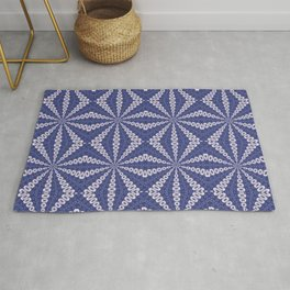 Navy Blue and Pink Origami Fortune Teller Pattern Rug