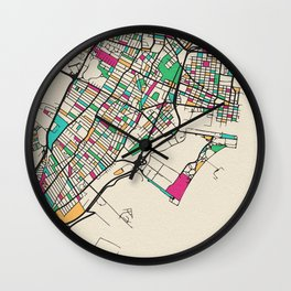 Colorful City Maps: Jersey City, New Jersey Wall Clock