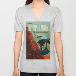 SpaceX Mars tourism poster / Olympus Mons Unisex V-Neck