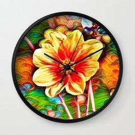 Dahlia Dreams   Abstract Oil Painting Wall Clock