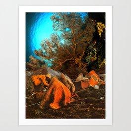 Porters huddled under the ocean Art Print