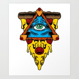 Pizza Illuminati Eye Slice Cool Food Funny Gift Art Print