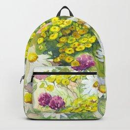 Watercolor meadow flowers spring Backpack