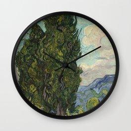 Cypresses Painting Vincent Van Gogh Wall Clock