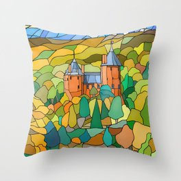 Castell Coch Reflections Throw Pillow